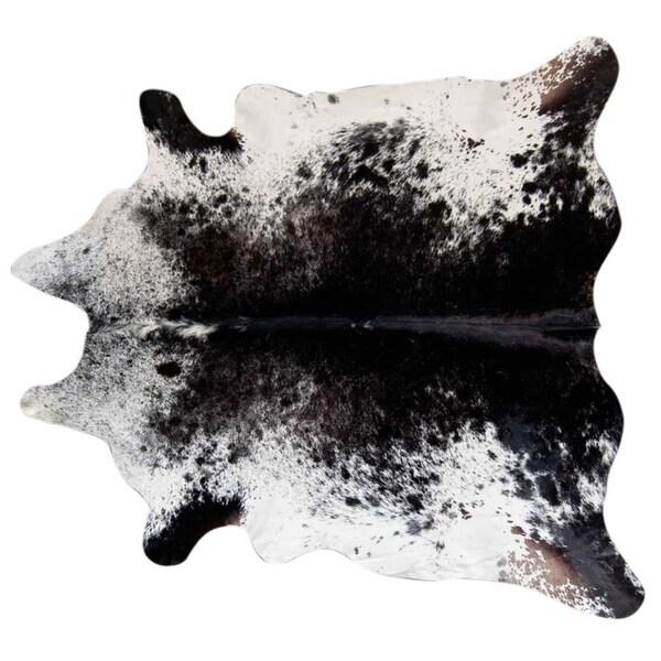 Pergamino Black Salt And Pepper Cowhide Rug Xl White