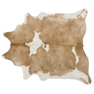 Pergamino Palomino And White Cowhide Rug Large - palomino/white
