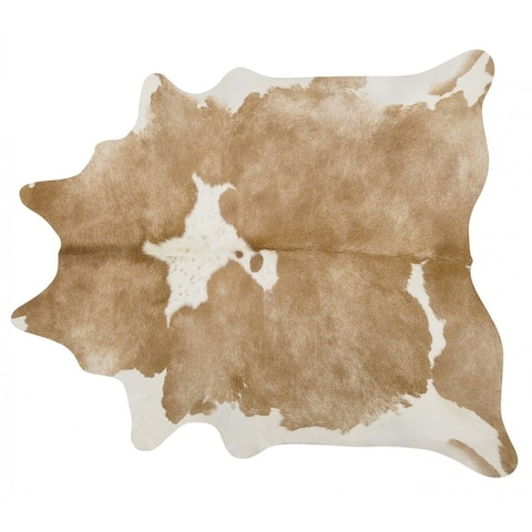Pergamino Palomino And White Cowhide Rug Large