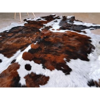 Pergamino Tricolor Exoctic Cowhide Rug Large - brown/black/white