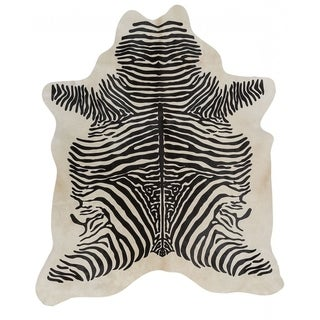 Pergamino Zebra Spine Cowhide Rug - Black/Off White