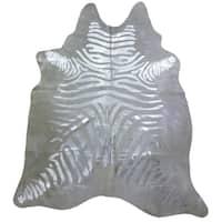 Pergamino Zebra Silver Cowhide Rug