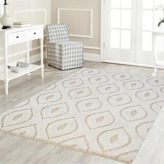 Artz Curve Platinum Shag Area Rug White-Beige (8' x 10')
