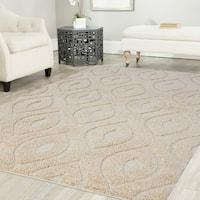Artz Curve Platinum Shag Area Rug Beige-White (5' x 7') - 5'2 x 7'2