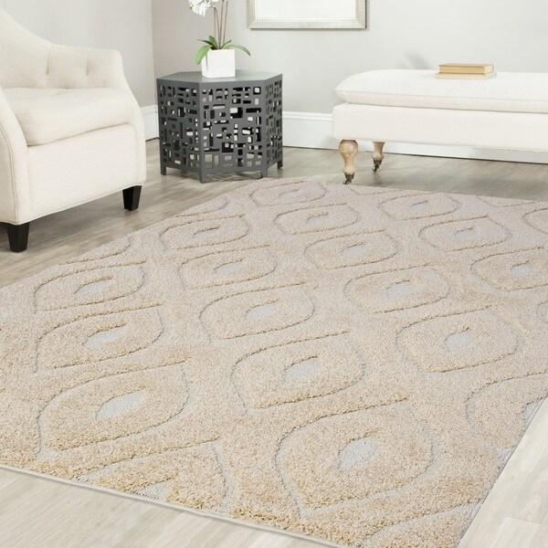 Artz Curve Platinum Shag Area Rug Beige-White (8' x 10')