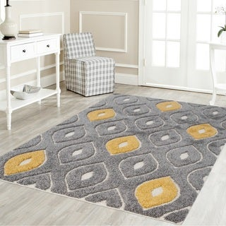 Artz Curve Platinum Shag Area Rug Gray-Yellow (5' x 7') - 5'2 x 7'2