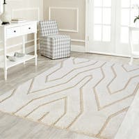 Artz Geometric Platinum Shag Area Rug  White-Beige (8' x 10')
