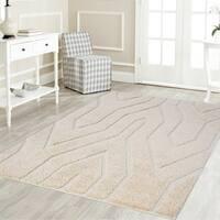 Artz Geometric Platinum Shag Area Rug Beige-White - 5'2 x 7'2