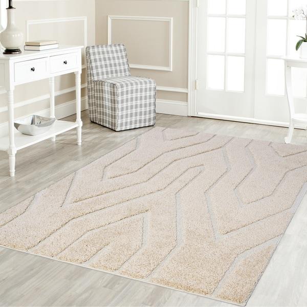 Artz Geometric Platinum Shag Area Rug Beige-White - 7'10 x 10'6