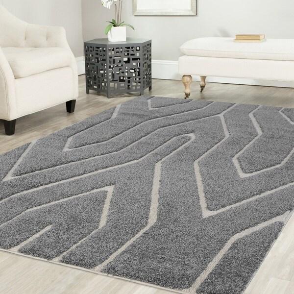 Artz Geometric Platinum Shag Area Rug Gray-White - 7'10 x 10'8