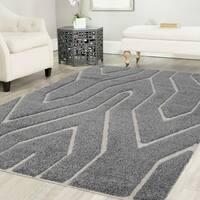 Artz Geometric Platinum Shag Area Rug Gray-White (8' x 10') - 7'10 x 10'8