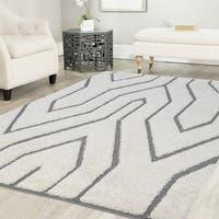 Artz Geometric Platinum Shag Area Rug White-Gray (5' x 7') - 5'2 x 7'2