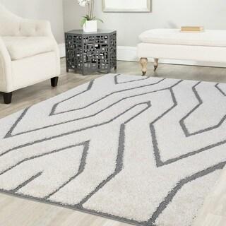 Artz Geometric Platinum Shag Area Rug White-Gray (8' x 10')