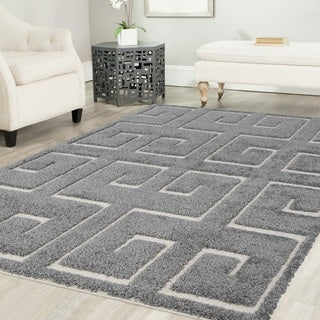 Artz Meander Platinum Shag Area Rug Gray-White (8' x 10')