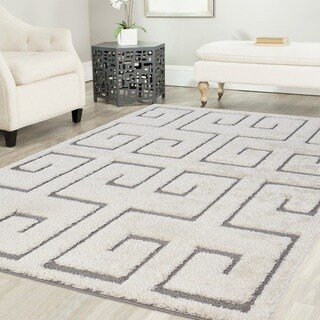 Artz Meander Platinum Shag Area Rug White-Gray (5' x 7')