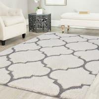 Artz Moroccan Platinum Shag Area Rug White-Gray - 5'2 x 7'2