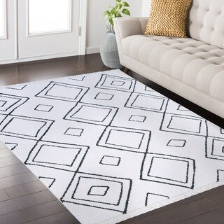 Pasi Fez Collection White and Charcoal area rug