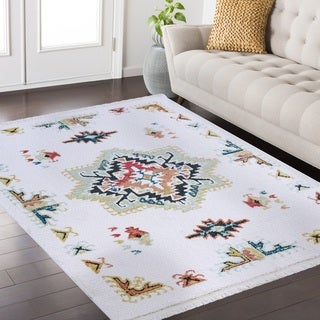 Peer Fez Collection White and Multi area rug