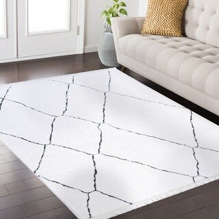Pilcher Fez Collection White and Charcoal area rug