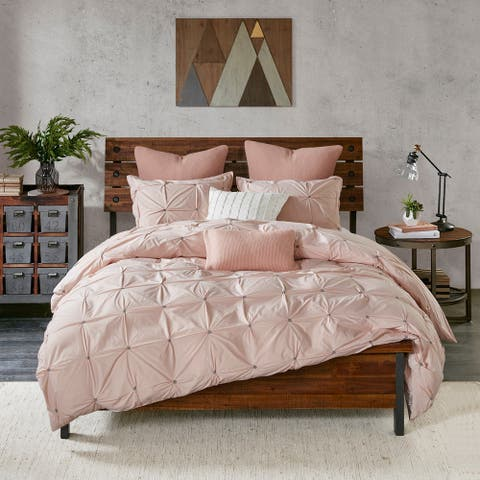 The Curated Nomad Jessie Blush Cotton 3-piece Duvet Cover Set