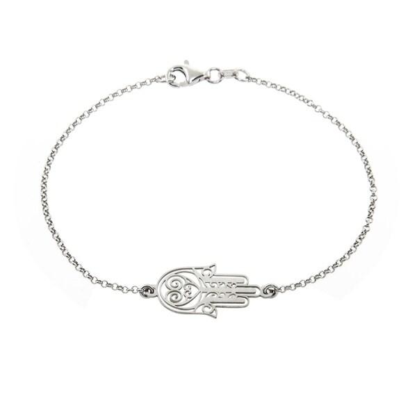 Eternally Haute Italian Solid Sterling Silver Hamsa Bracelet