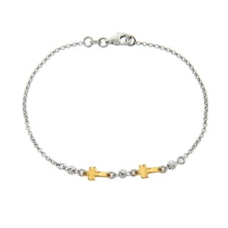 Eternally Haute Italian Two Toned 14k Gold plated Solid Sterling Silver Diamond Cut Double Cross Bracelet