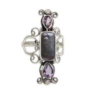 Handmade Sterling Silver 'Lavender Myths' Cultured Pearl Amethyst Ring (12 mm) (Indonesia)