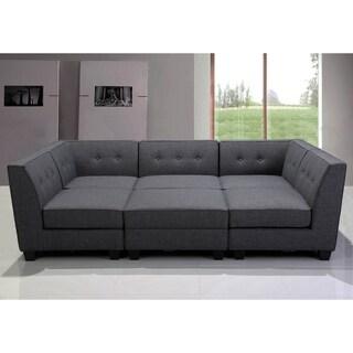 Best Master Furniture Grey Fabric/Black Wood Legs Modular Sectional Sofa (6-piece Set)