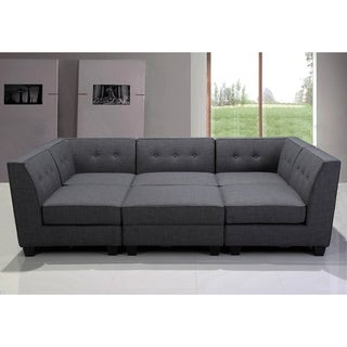Best Master Furniture Grey Fabric/Black Wood Legs Modular Sectional Sofa  (6 Piece
