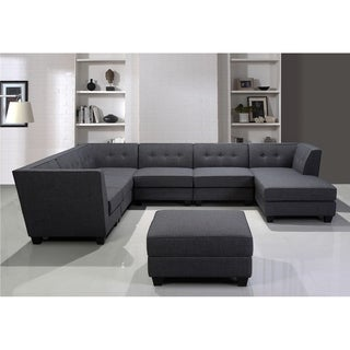 Best Master Furniture 7 Pieces Gray Modular Sectional