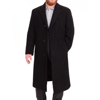 Calvin Klein Classic Fit Full Legnth Black Wool Blend Overcoat