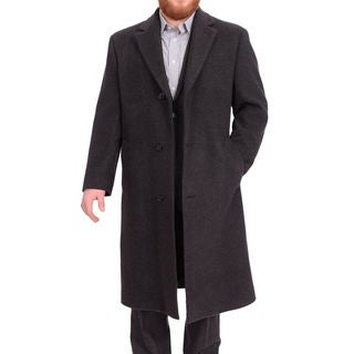 Calvin Klein Classic Fit Full Legnth Charcoal Wool Blend Overcoat