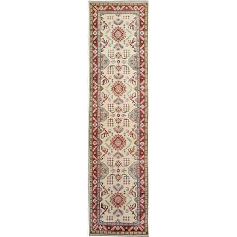 Kazak Garish Mervin Ivory/Red Wool Rug (2'8 x 9'8) - 2 ft. 8 in. x 9 ft. 8 in. - 2 ft. 8 in. x 9 ft. 8 in.