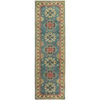 Kazak Garish Jewel Lt. Blue/Ivory Wool Rug - 2'9 x 9'8