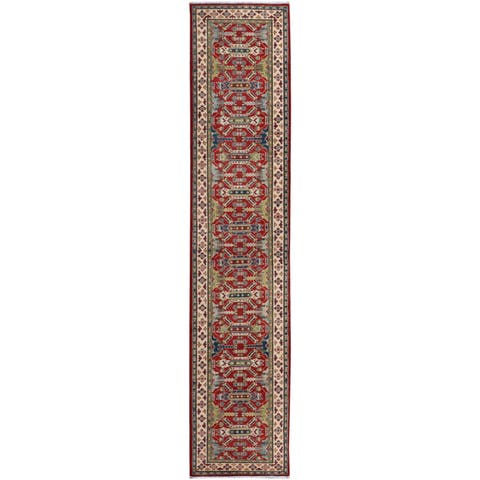 Kazak Garish Kraig Red/Ivory Wool Rug (2'7 x 12'7) - 2 ft. 7 in. x 12 ft. 7 in.