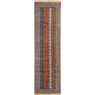 Arshs Shawl Garish Jere Lt. Blue/Green Wool Rug (2'9 x 9'6)