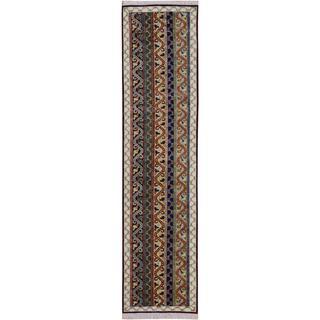 Shawl Garish Rueben Blue/Ivory Wool Rug (2'6 x 9'10)