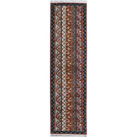 Shawl Garish Jeromy Red/Blue Wool Rug - 2'6 x 9'9