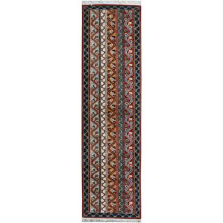 Arshs Shawl Garish Jeromy Red/Blue Wool Rug (2'6 x 9'9)