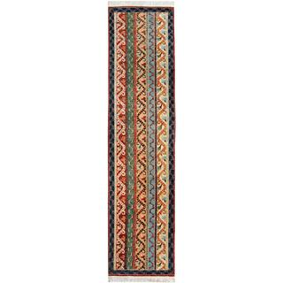 Shawl Garish Daina Blue/Ivory Wool Rug (2'4 x 9'8)