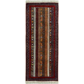 Arshs Shawl Garish Rosaura Red/Blue Wool Rug (2'0 x 5'1)