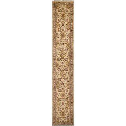 Kafkaz Peshawar Hannelor Ivory/Blue Wool Rug (2'7 x 16'10) - 2 ft. 7 in. x 16 ft. 10 in. - 2 ft. 7 in. x 16 ft. 10 in.