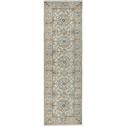Kafkaz Peshawar Lauren Ivory/Blue Wool Rug (2'10 x 10'0) - 2 ft. 10 in. x 10 ft. 0 in.