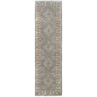 Kafkaz Peshawar Ahmad Blue/Ivory Wool Rug (2'10 x 9'9) - 2 ft. 10 in. x 9 ft. 9 in.