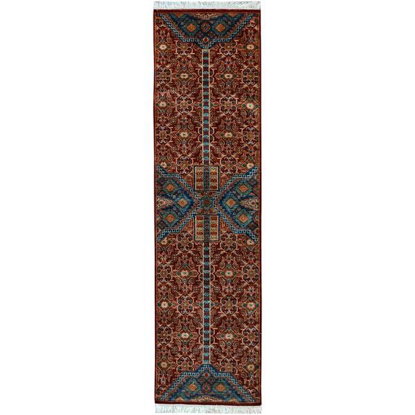 Kurjean Garish Carroll Red/Blue Wool Rug (2'7 x 10'0) - 2 ft. 7 in. x 10 ft. 0 in.