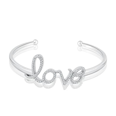 Auriya Silver and CZ Love Bangle Bracelet - Clear