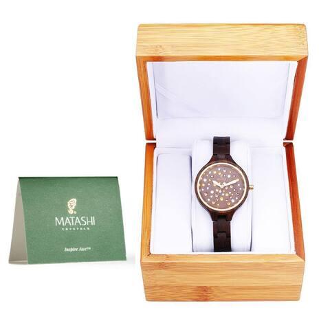 Matashi MTJW13040 Womens Brown Salwood Watch with Crystals, Gold Bezel, Business Casual, Swiss Ronda Movement
