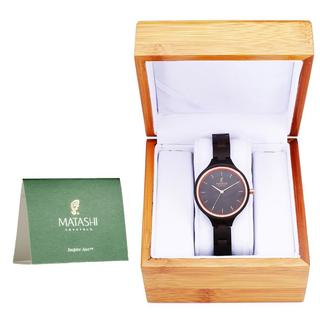 Matashi Mens and Womens Chic Brown Wooden Watch with Salwood Bezel and Band, Business Casual, 1ATM Water Resistant