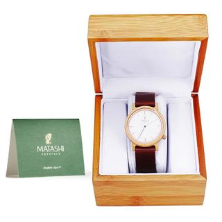 Matashi Mens and Womens Casual Wooden Wrist Watch with Brown Leather Strap, 1ATM Water Resistant, Business or Travel