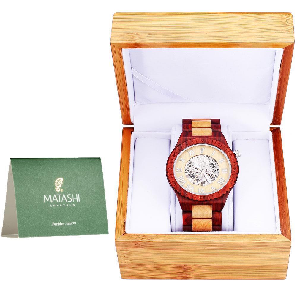 Matashi MTJW13039 Mens Automatic Wooden Watch, Red Salwoo...